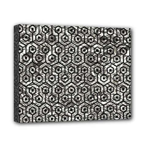 Hexagon1 Black Marble & Silver Foil Canvas 10  X 8  by trendistuff