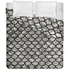 Scales1 Black Marble & Silver Foil Duvet Cover Double Side (california King Size) by trendistuff