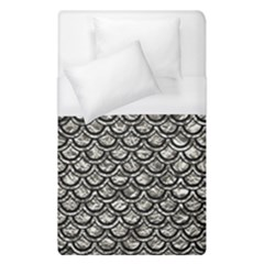 Scales2 Black Marble & Silver Foil Duvet Cover (single Size) by trendistuff