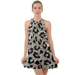 Skin5 Black Marble & Silver Foil (r) Halter Tie Back Chiffon Dress