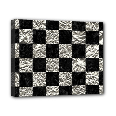 Square1 Black Marble & Silver Foil Canvas 10  X 8  by trendistuff