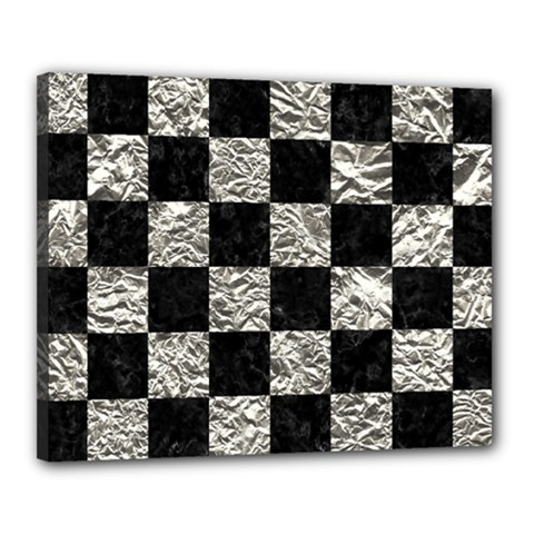 Square1 Black Marble & Silver Foil Canvas 20  X 16  by trendistuff