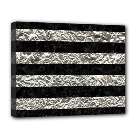 Stripes2 Black Marble & Silver Foil Deluxe Canvas 20  X 16   by trendistuff