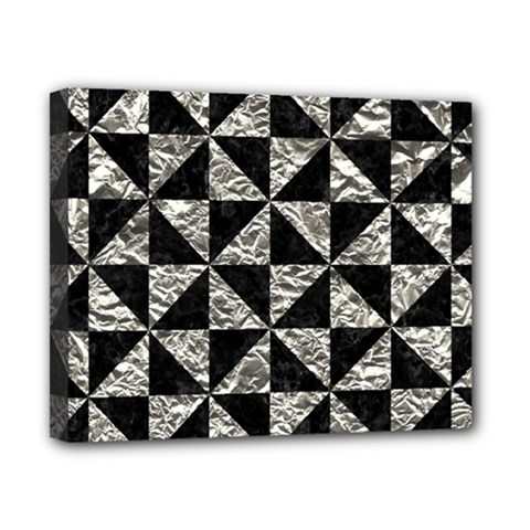 Triangle1 Black Marble & Silver Foil Canvas 10  X 8  by trendistuff
