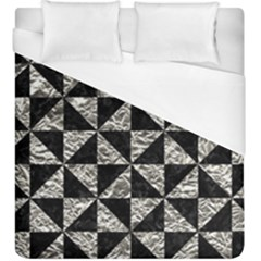 Triangle1 Black Marble & Silver Foil Duvet Cover (king Size) by trendistuff