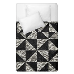 Triangle1 Black Marble & Silver Foil Duvet Cover Double Side (single Size) by trendistuff