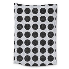 Circles1 Black Marble & Silver Glitter Large Tapestry