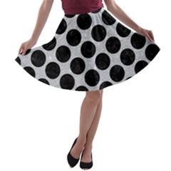 Circles2 Black Marble & Silver Glitter A Line Skater Skirt