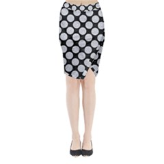 Circles2 Black Marble & Silver Glitter (r) Midi Wrap Pencil Skirt