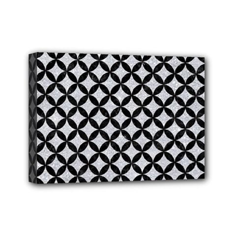 Circles3 Black Marble & Silver Glitter Mini Canvas 7  X 5  by trendistuff