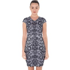 Damask2 Black Marble & Silver Glitter Capsleeve Drawstring Dress