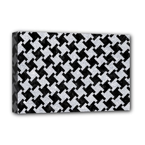 Houndstooth2 Black Marble & Silver Glitter Deluxe Canvas 18  X 12   by trendistuff