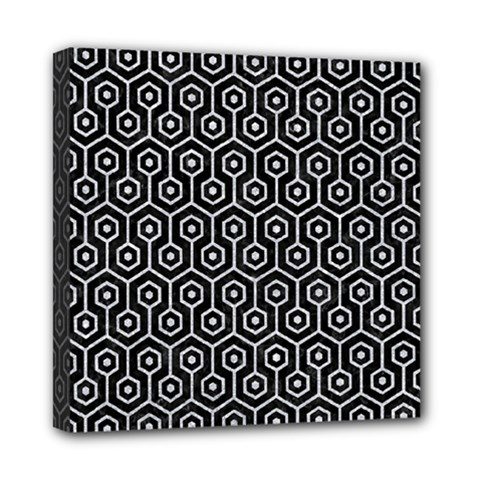 Hexagon1 Black Marble & Silver Glitter (r) Mini Canvas 8  X 8  by trendistuff