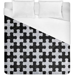 Puzzle1 Black Marble & Silver Glitter Duvet Cover (king Size) by trendistuff