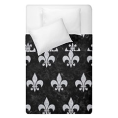 Royal1 Black Marble & Silver Glitter Duvet Cover Double Side (single Size) by trendistuff