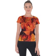 Ablaze With Beautiful Fractal Fall Colors Short Sleeve Sports Top