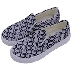 Scales2 Black Marble & Silver Glitter Kids  Canvas Slip Ons by trendistuff