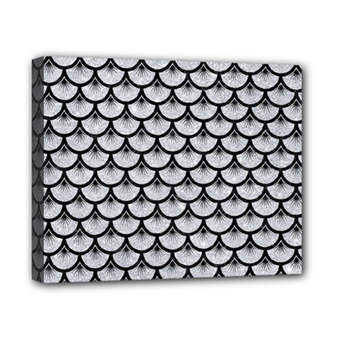 Scales3 Black Marble & Silver Glitter Canvas 10  X 8  by trendistuff
