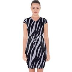 Skin3 Black Marble & Silver Glitter (r) Capsleeve Drawstring Dress