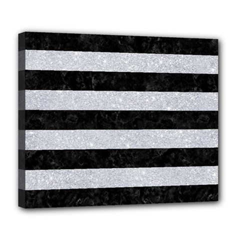 Stripes2 Black Marble & Silver Glitter Deluxe Canvas 24  X 20   by trendistuff
