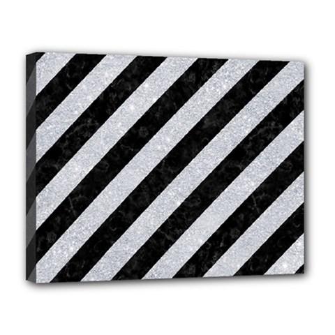 Stripes3 Black Marble & Silver Glitter (r) Canvas 14  X 11  by trendistuff