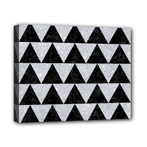 Triangle2 Black Marble & Silver Glitter Canvas 10  X 8  by trendistuff