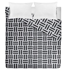 Woven1 Black Marble & Silver Glitter Duvet Cover Double Side (queen Size) by trendistuff