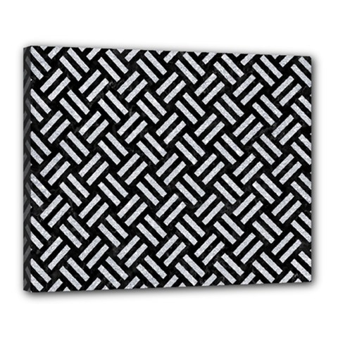 Woven2 Black Marble & Silver Glitter (r) Canvas 20  X 16  by trendistuff