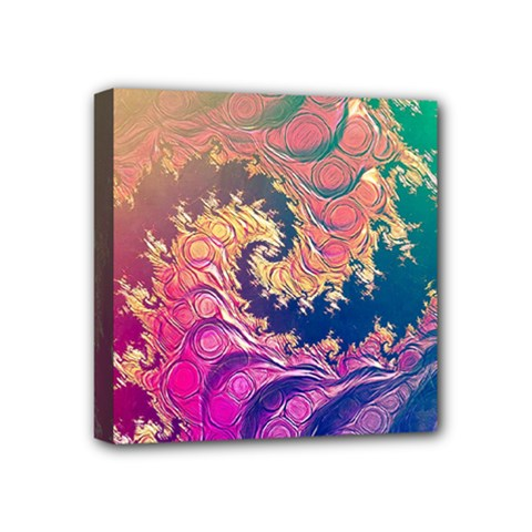 Rainbow Octopus Tentacles In A Fractal Spiral Mini Canvas 4  X 4  by beautifulfractals