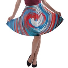 Red And Blue Rounds A Line Skater Skirt by berwies