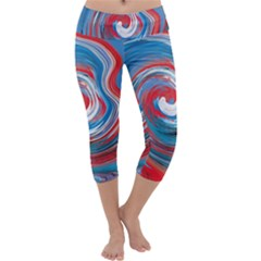 Red And Blue Rounds Capri Yoga Leggings by berwies