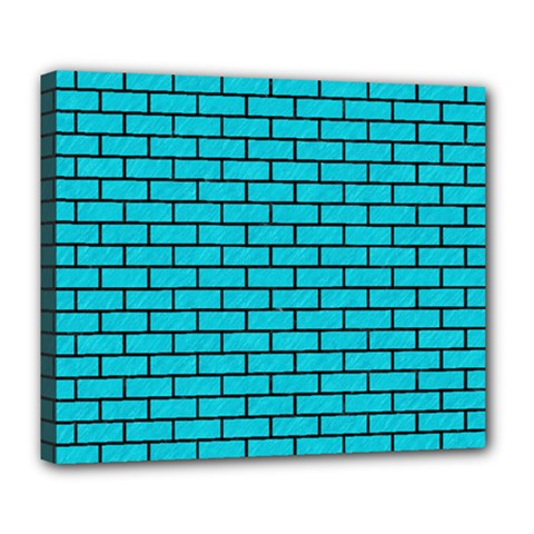 Brick1 Black Marble & Turquoise Colored Pencil Deluxe Canvas 24  X 20   by trendistuff