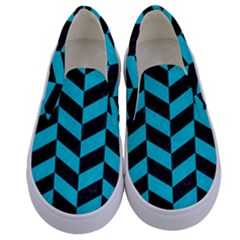 Chevron1 Black Marble & Turquoise Colored Pencil Kids  Canvas Slip Ons