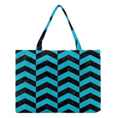 Chevron2 Black Marble & Turquoise Colored Pencil Medium Tote Bag by trendistuff