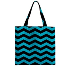 Chevron3 Black Marble & Turquoise Colored Pencil Zipper Grocery Tote Bag by trendistuff