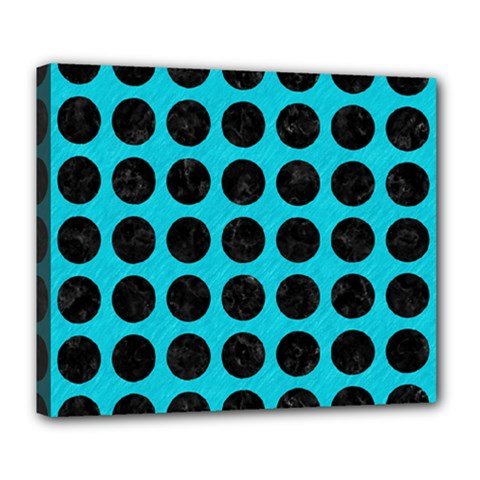 Circles1 Black Marble & Turquoise Colored Pencil Deluxe Canvas 24  X 20   by trendistuff