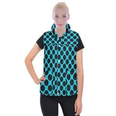 Circles2 Black Marble & Turquoise Colored Pencil Women s Button Up Puffer Vest