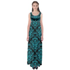 Damask1 Black Marble & Turquoise Colored Pencil (r) Empire Waist Maxi Dress
