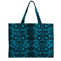 Damask2 Black Marble & Turquoise Colored Pencil Zipper Mini Tote Bag by trendistuff