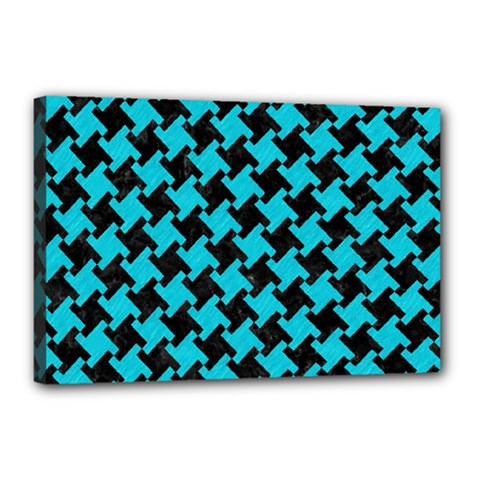 Houndstooth2 Black Marble & Turquoise Colored Pencil Canvas 18  X 12  by trendistuff