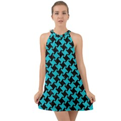 Houndstooth2 Black Marble & Turquoise Colored Pencil Halter Tie Back Chiffon Dress