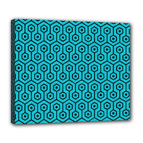 Hexagon1 Black Marble & Turquoise Colored Pencil Deluxe Canvas 24  X 20   by trendistuff