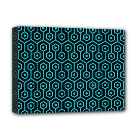 Hexagon1 Black Marble & Turquoise Colored Pencil (r) Deluxe Canvas 16  X 12   by trendistuff