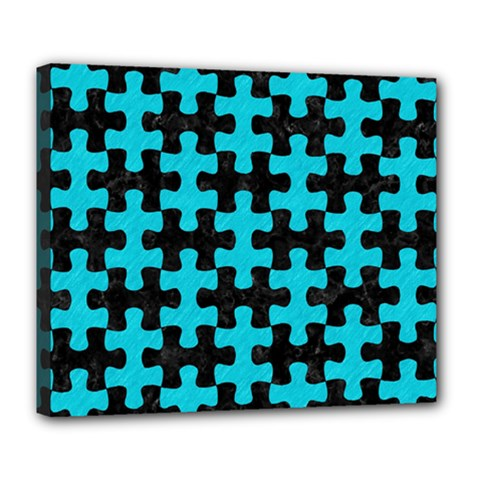 Puzzle1 Black Marble & Turquoise Colored Pencil Deluxe Canvas 24  X 20   by trendistuff