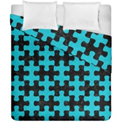 Puzzle1 Black Marble & Turquoise Colored Pencil Duvet Cover Double Side (california King Size) by trendistuff