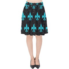 Royal1 Black Marble & Turquoise Colored Pencil Velvet High Waist Skirt