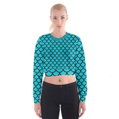 Scales1 Black Marble & Turquoise Colored Pencil Cropped Sweatshirt