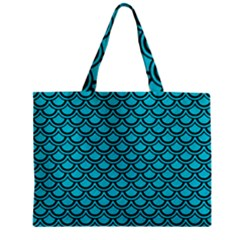 Scales2 Black Marble & Turquoise Colored Pencil Zipper Mini Tote Bag by trendistuff
