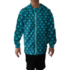 Scales2 Black Marble & Turquoise Colored Pencil Hooded Wind Breaker (kids)