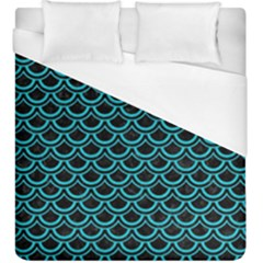 Scales2 Black Marble & Turquoise Colored Pencil (r) Duvet Cover (king Size) by trendistuff